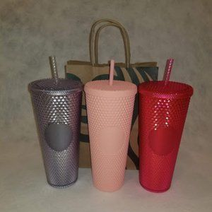 Starbucks Studded Tumblers (3) Pink Magenta Clear